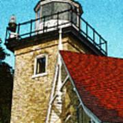 Eagle Bluff Lighthouse Re-imagined Art Print