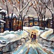 Original Montreal Paintings For Sale Winter Walk After The Snowfall Exceptional Canadian Art Spandau Art Print