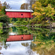 Early Fall Colors Surround A Covered Bridge In Vermont Art Print