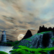 Early Morning Ocean Lighthouse Scene Art Print
