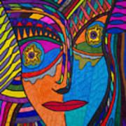 Earth And Aqua Mask - Abstract Face Art Print
