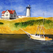 East Coast Lighthouse With Crab Boat Art Print