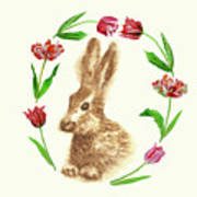 Easter Background With Rabbit Art Print