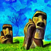 Easter Island - Van Gogh Style - Pa Art Print