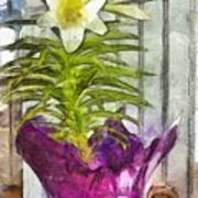 Easter Lily And Doll Art Print