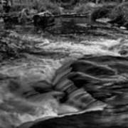 Eau Claire Dells Black And White Flow Art Print