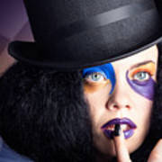 Eccentric Mad Fashion Hatter In Colourful Makeup Art Print