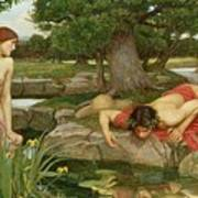 Echo And Narcissus Art Print by John William Waterhouse