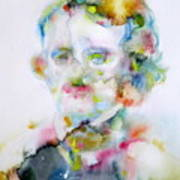 Edgar Allan Poe - Watercolor Portrait.4 Art Print