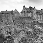 Edinburgh Castle Bw Art Print