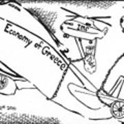 Editorial Maze Cartoon - Economy Of Greece By Yonatan Frimer Art Print