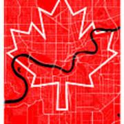 Edmonton Street Map - Edmonton Canada Road Map Art On Canada Flag Symbols Art Print