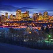 Edmonton Winter Skyline Art Print