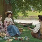 Edmund Blair Leighton 1852-1922 A Picnic Party Art Print