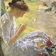 Edmund Charles Tarbell - Mercie Cutting Flowers 1912 Art Print