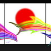 Edo Period Dolphin Screen Art Print