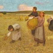 Edward Stott, A.r.a. 1859-1918 Harvesters Art Print
