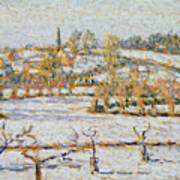 Effect Of Snow At Eragny Art Print by Camille Pissarro