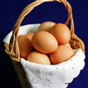 Eggs In A Wicker Basket. Art Print