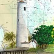 Egmont Key Lighthouse Fl Nautical Map Art Print