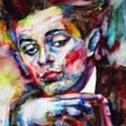 Egon Schiele - Watercolor Portrait.2 Art Print