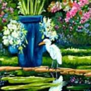 Egret Visits Goldfish Pond Art Print