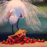 Egret With Strawberry Bag Art Print