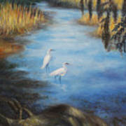 Egrets On The Ashley At Charles Towne Landing Art Print by Pamela Poole