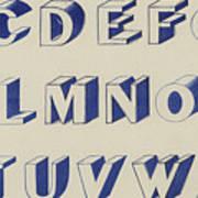Egyptian For Carving Vintage Blue Font Design Art Print