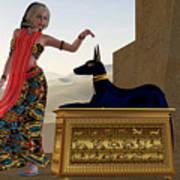 Egyptian Woman And Anubis Statue Art Print