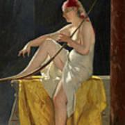 Egyptian Woman With Harp Art Print