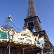 Eiffel Tower And Ancient Carousel Art Print
