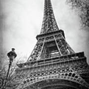 Eiffel Tower And Lamp Post Bw Art Print