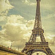 Eiffel Tower And Pont D'lena Vintage Art Print