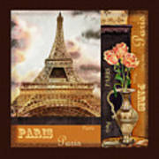 Eiffel Tower And Roses Art Print