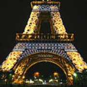 Eiffel Tower At Night Art Print