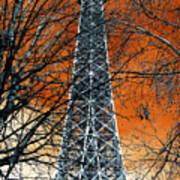 Eiffel Tower Behind The Trees Pop Art Art Print
