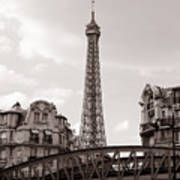 Eiffel Tower Black And White 3 Print by Andrew Fare