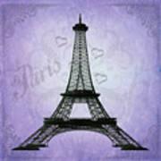 Eiffel Tower Collage Purple Art Print