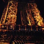 Eiffel Tower Illuminated At Night First Floor Deck Paris France Art Print