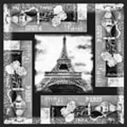 Eiffel Tower In Black And White Design I Art Print