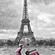 Eiffel Tower In The Rain With Pink Scooter Of Paris. Black And W Art Print