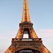 Eiffel Tower Lighted  Art Print