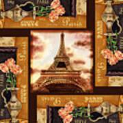 Eiffel Tower Roses Dance Art Print
