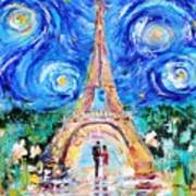 Eiffel Tower Starry Night Romance Art Print
