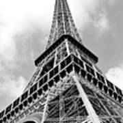 Eiffel Tower Sunlit Corner Perspective Paris France Black And White Art Print