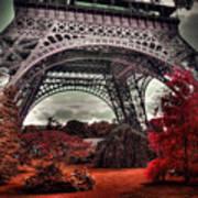 Eiffel Tower Surreal Photo Red Trees Paris France Art Print
