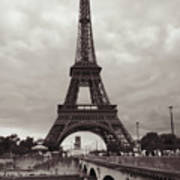 Eiffel Tower With Bridge In Sepia Art Print