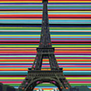 Eiffel Tower With Lines Art Print