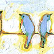 Eight Little Bluebirds Art Print